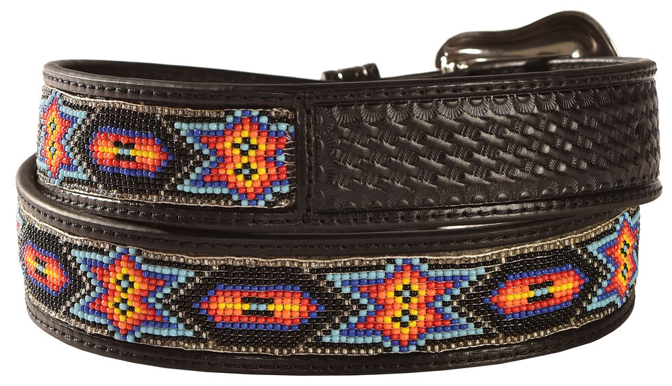 Nocona Beaded Inlay Leather Belt, Black, hi-res