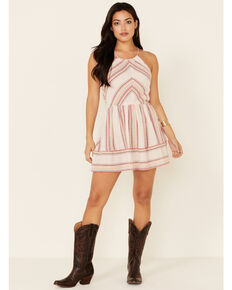 Luna Chix Women's Pink Stripe Halter Neck Border Dress, Pink, hi-res