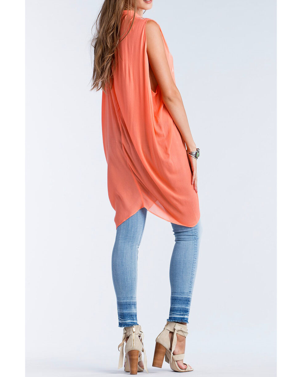 Miss Me Women's Coral Embroidered Button Down Tunic, Coral, hi-res