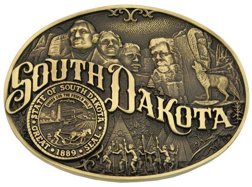 Montana Silversmiths South Dakota State Heritage Attitude Belt Buckle, Gold, hi-res