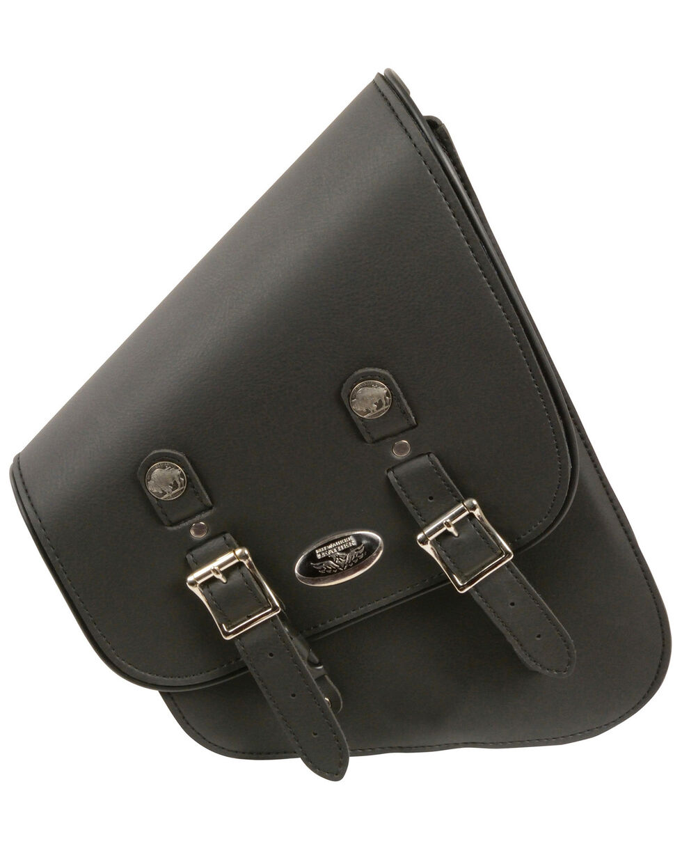 Milwaukee Leather Left Side Tall Slanted Swing Arm Bag, Black, hi-res