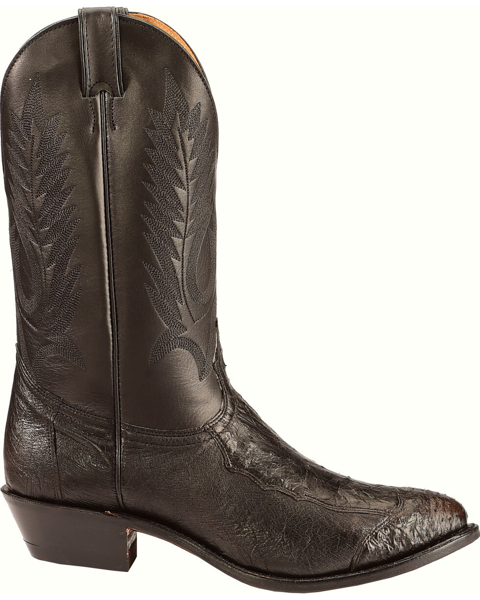Boulet 4-Piece Smooth Black Ostrich Boots - Medium Toe, Black, hi-res