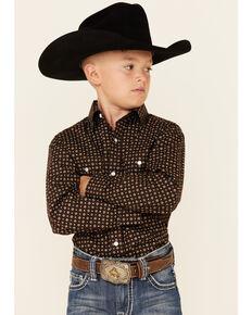 Rough Stock By Panhandle Boys' Brown Geo Print Long Sleeve Snap Western Shirt , Brown, hi-res