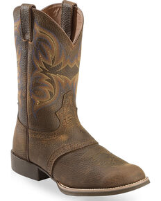 Justin Men's Stampede Cattleman Cowboy Boots - Round Toe, Dark Brown, hi-res