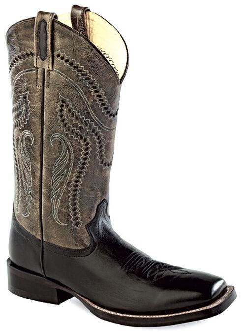 Old West Men's Charcoal Crackle Western Boots - Square Toe , Black, hi-res