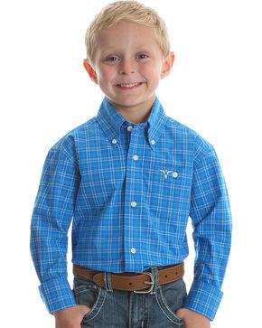 Wrangler Boys' Blue 20X Advanced Comfort Western Shirt , Blue, hi-res