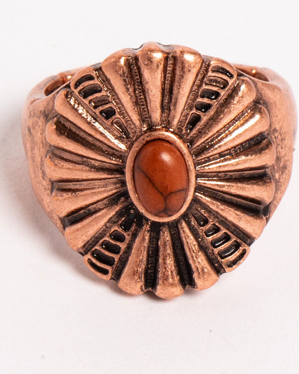 Shyanne Women's Texas Rose Stretch Concho Ring, Rust Copper, hi-res