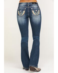 Miss Me Women's Colorful Wing Faux Flap Chloe Bootcut Jeans, Blue, hi-res