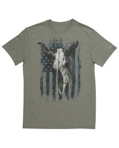 Wrangler Men's Americana Bull Skull Graphic Short Sleeve T-Shirt, Sage, hi-res