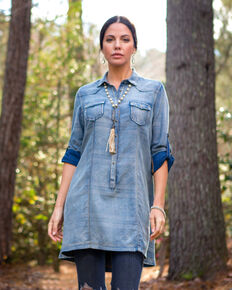 Ryan Michael Women's Indigo Serape Jacquard Tunic , Indigo, hi-res