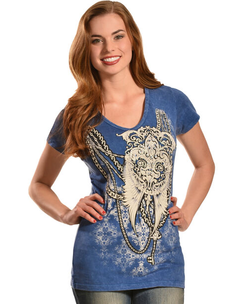 Liberty Wear Women's Denim Wash Wings and Chain T-Shirt , Blue, hi-res