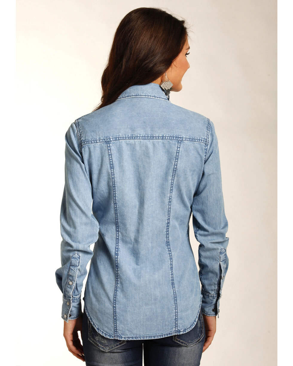 Rock & Roll Cowgirl Women's Indigo Lightweight Denim Shirt , Indigo, hi-res