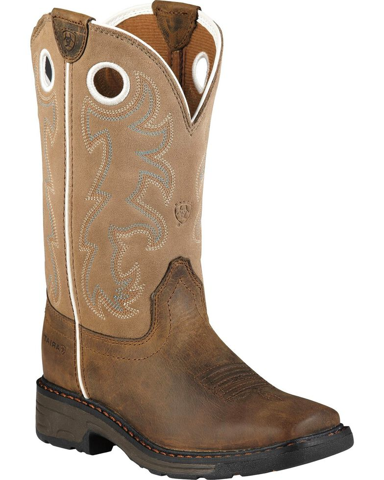Ariat Youth Boys' Distressed Workhog Boots, Brown, hi-res