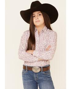 Rough Stock By Panhandle Girls' Wine Paisley Print Long Sleeve Western Shirt , Wine, hi-res