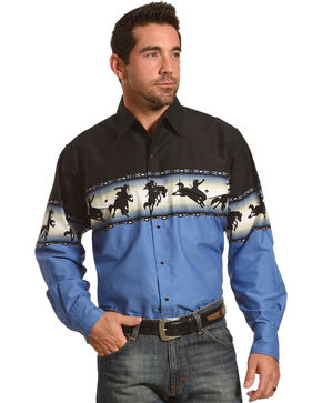 Ely Cattleman Men's Bronco Rider Border Print Shirt , Black, hi-res