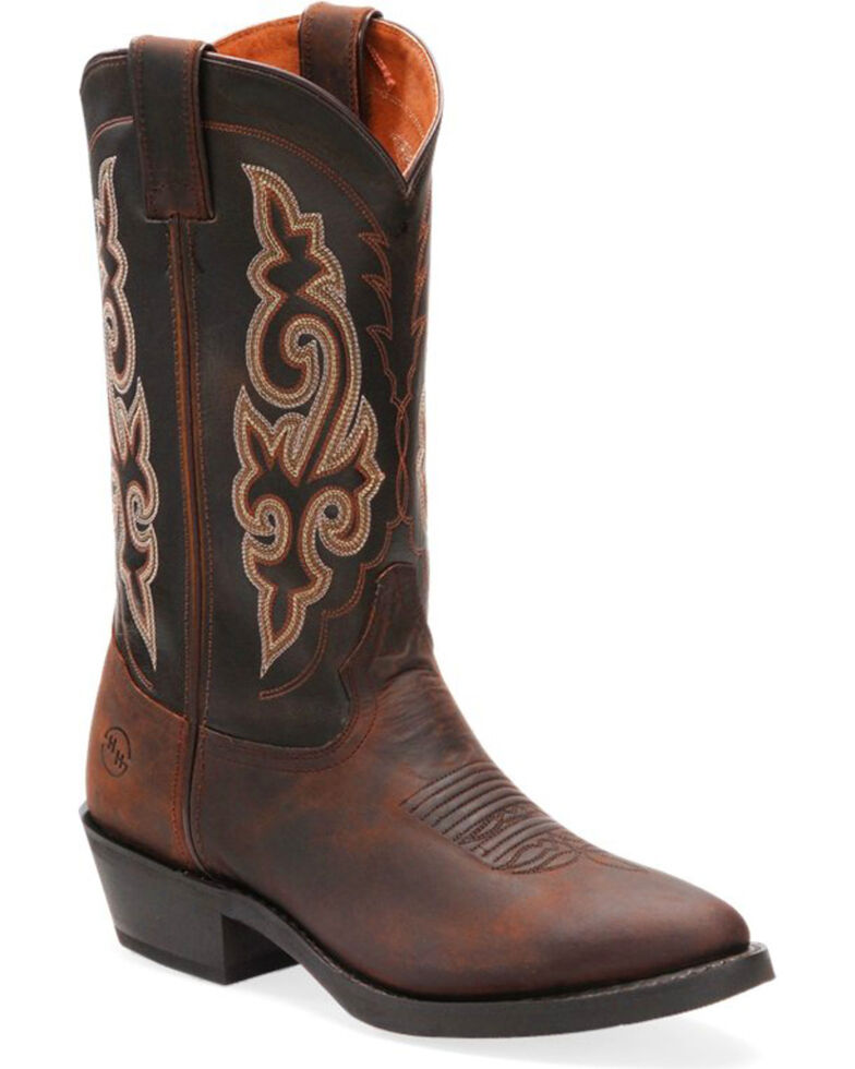 """Double-H Men's Work Western 12"""" Work Boots - Round Toe , Distressed Brown, hi-res"""