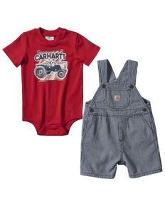 Carhartt Infant Boys' Red Tractor Graphic Striped Shortall Set , Indigo, hi-res