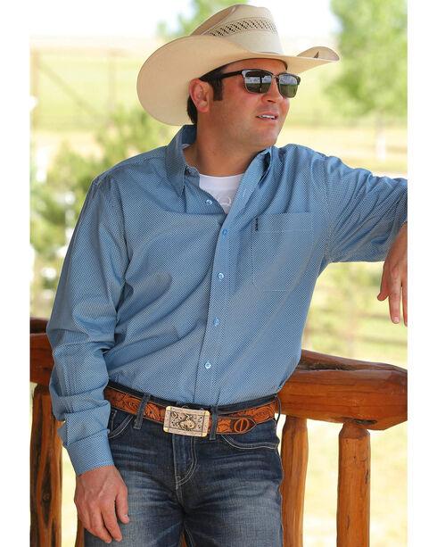 Cinch Men's Light Blue Print Button Down Long Sleeve Shirt , Light Blue, hi-res