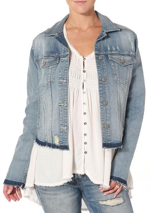 Silver Women's Denim Jacket with Fray, Indigo, hi-res