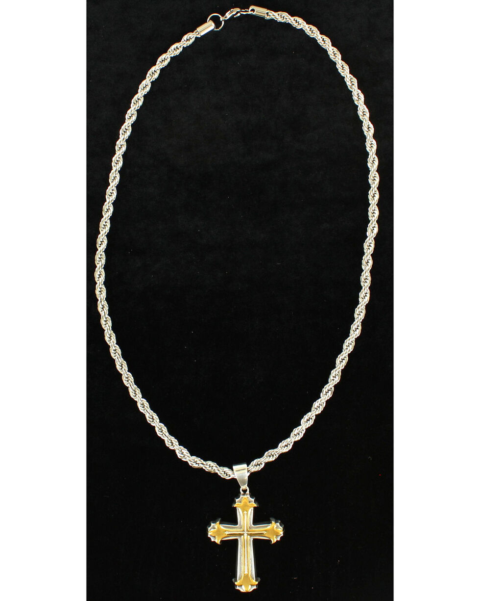 Twister Men's 3D Gold and Silver Cross Necklace , Silver, hi-res