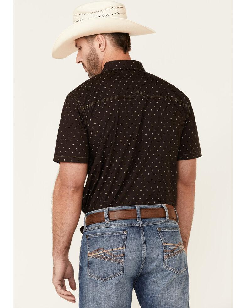 Moonshine Spirit Men's Arrowwoods Geo Print Short Sleeve Snap Western Shirt  , Brown, hi-res