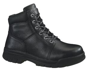 "Wolverine Marquette 6"" Slip-Resistant Work Boots - Steel Toe, Black, hi-res"