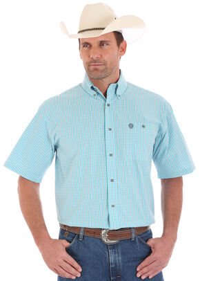 Wrangler George Strait Men's Short Sleeve Green Checkered Two Pocket Button Shirt, Green, hi-res