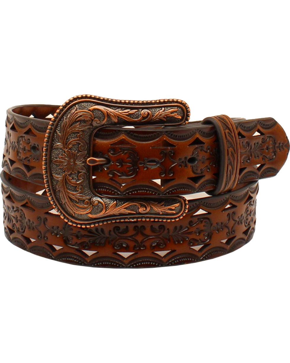 Ariat Women's Tooled with Bronze Buckle Belt , Brown, hi-res