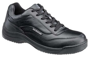 SkidBuster Women's Black Lace-Up Water Resistant Work Shoes, Black, hi-res