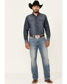 Rock & Roll Denim Men's Light Double Barrel Stretch Relaxed Straight Jeans , Blue, hi-res