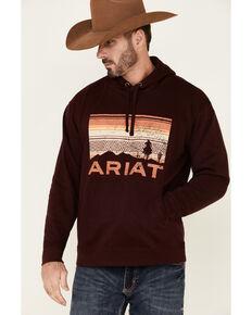 Ariat Men's Malbec Basic Scenic Logo Hooded Sweatshirt , Maroon, hi-res