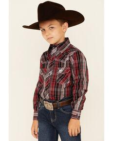 Cowboy Hardware Boys' Red & Black Plaid Long Sleeve Snap Western Shirt , Red, hi-res