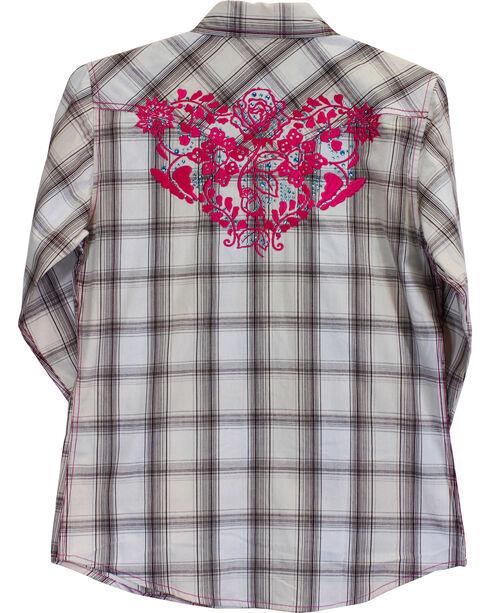Cowgirl Hardware Girls' Rose Vine Long Sleeve Plaid Shirt, Cream, hi-res