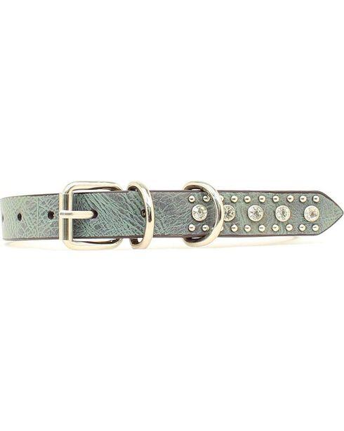 Blazin Roxx Rhinestone Star Concho Dog Collar - S-XL, Blue, hi-res