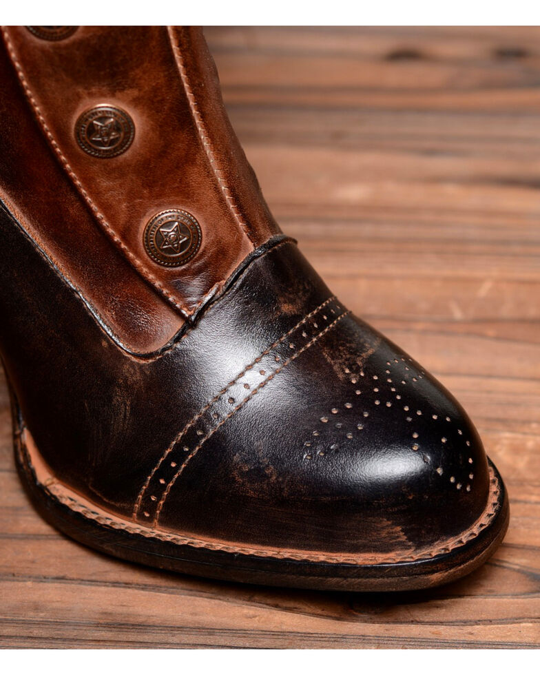 Oak Tree Farms Women's Hand-Finished Amelia Black Teak Boots - Round Toe, Black, hi-res