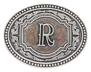 "Montana Silversmiths Men's Initial ""R"" Two-Tone Attitude Belt Buckle, Silver, hi-res"