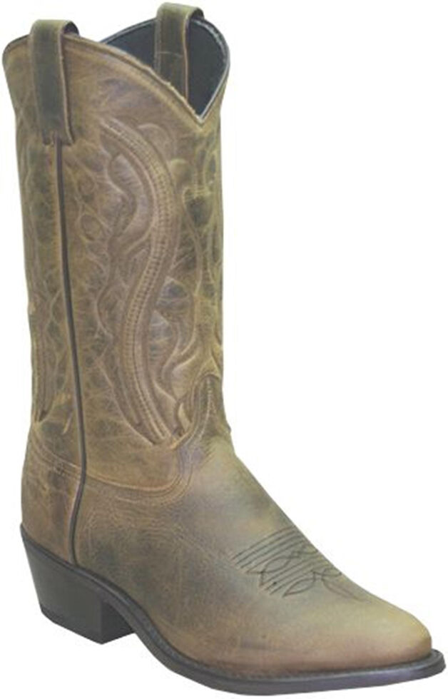 Sage by Abilene Oiled Cowhide Olive Brown Boots - Medium Toe, Brown, hi-res
