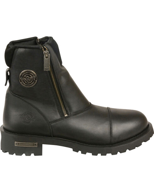 Milwaukee Leather Men's Super Clean Double Sided Zipper Boots - Round Toe, Black, hi-res