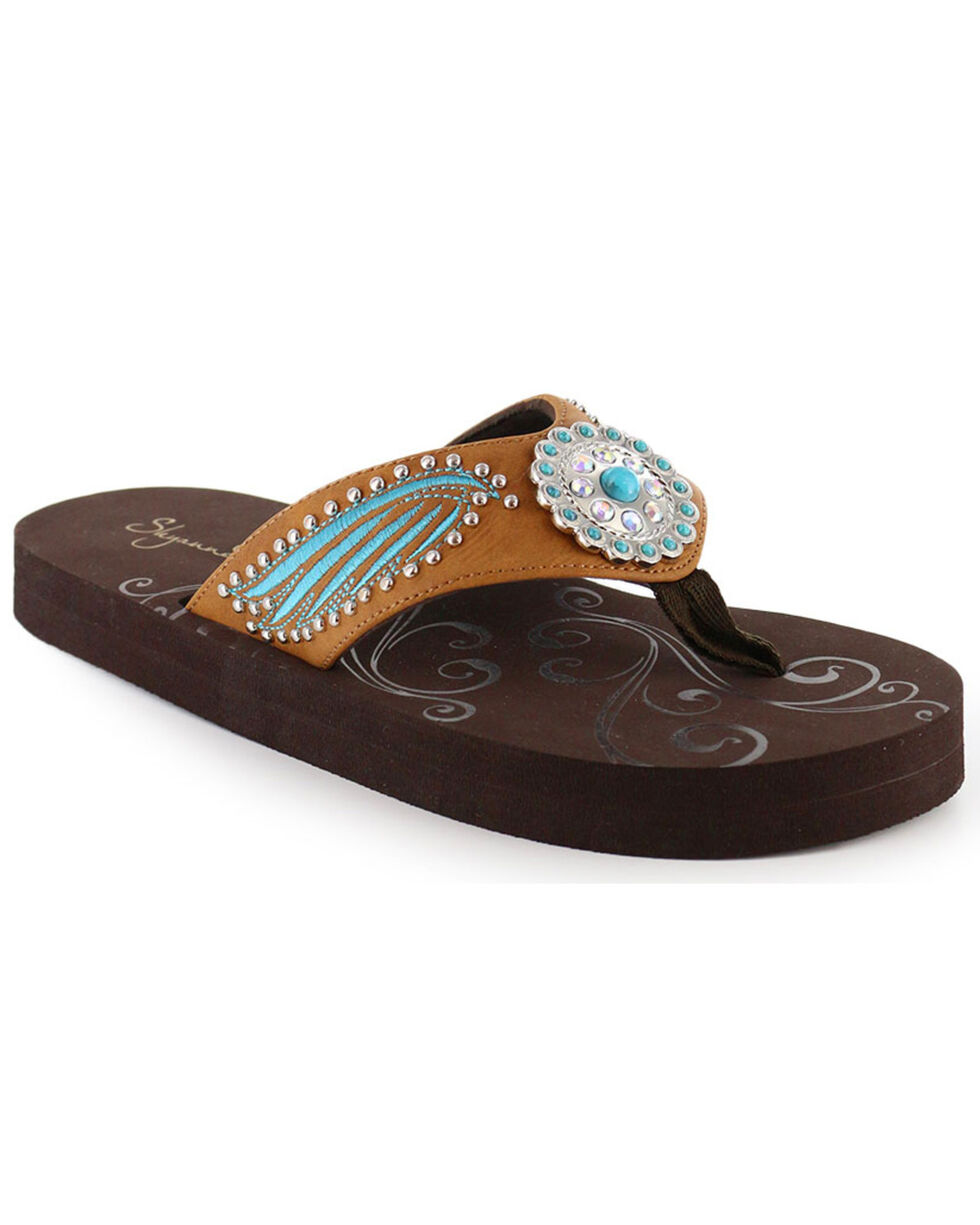 Shyanne Women's Embroidered Stud & Concho Sandals, Brown, hi-res
