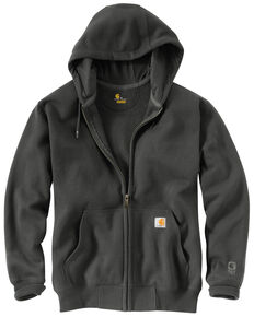 Carhartt Men's Rain Defender Paxton Zip Front Work Hooded Sweatshirt - Big & Tall, Bark, hi-res
