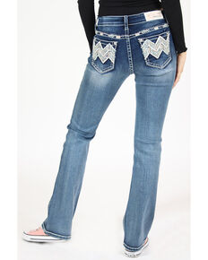 Grace in LA Women's Medium Wash Chevron Bootcut Jeans , Blue, hi-res