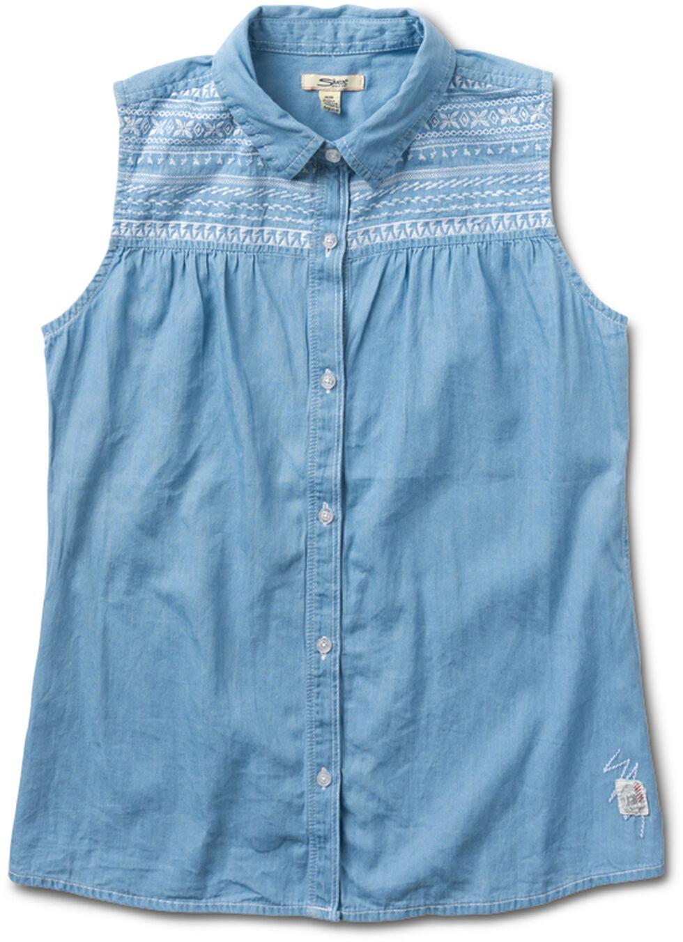 Silver Girls' Denim Light Wash Sleevless Shirt, , hi-res