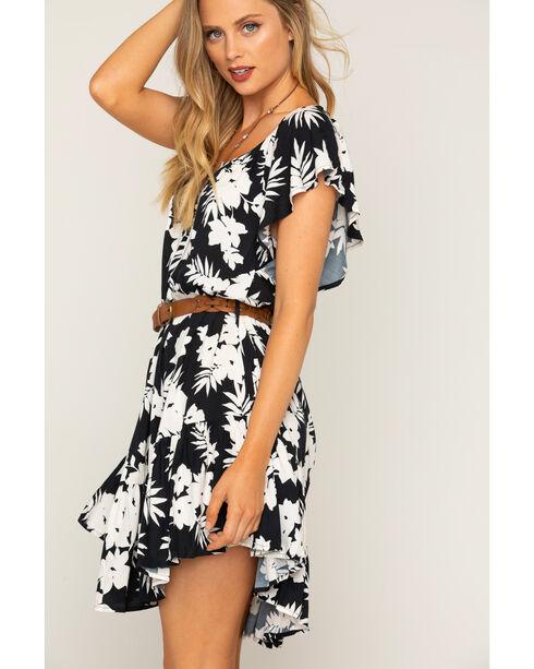 Shyanne Women's Floral Printed Flutter Dress With Belt, Black/white, hi-res