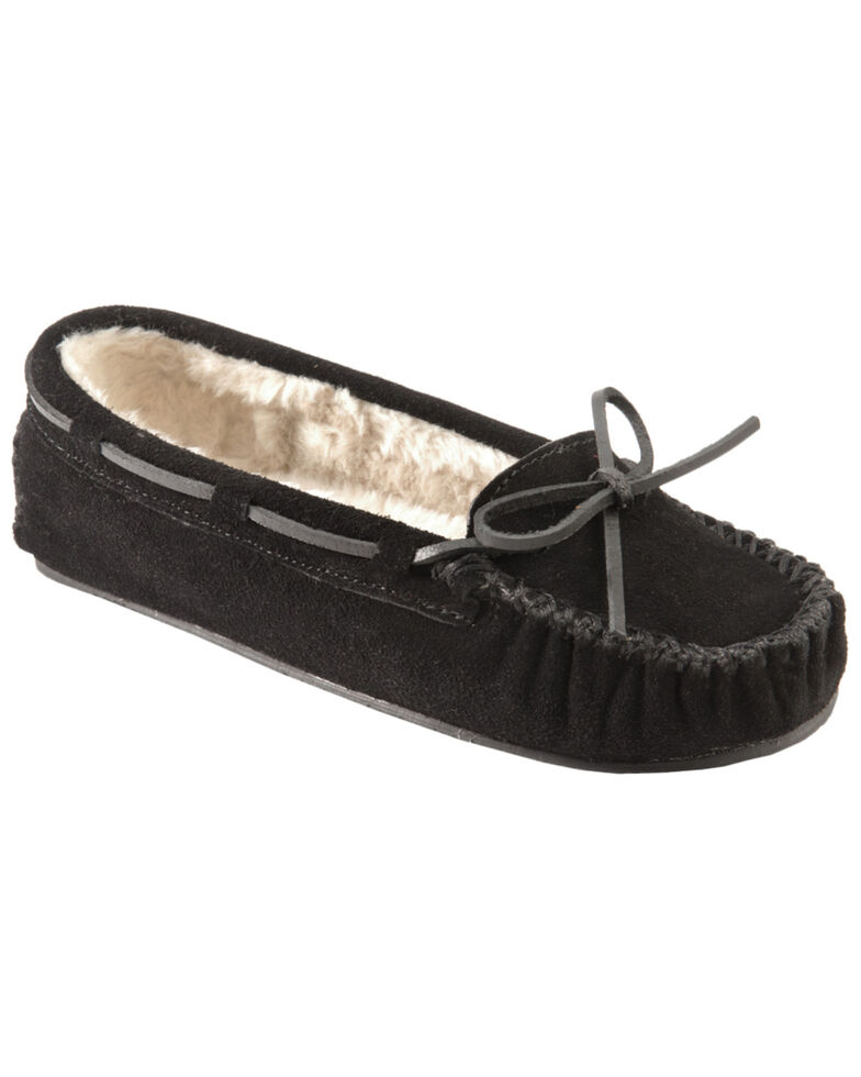 Minnetonka Cally Lined Slipper Moccasins, Black, hi-res