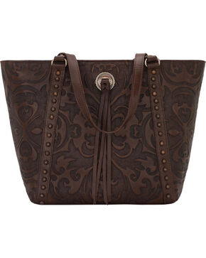 American West Brown Baroque Zip Top Bucket Tote , Brown, hi-res