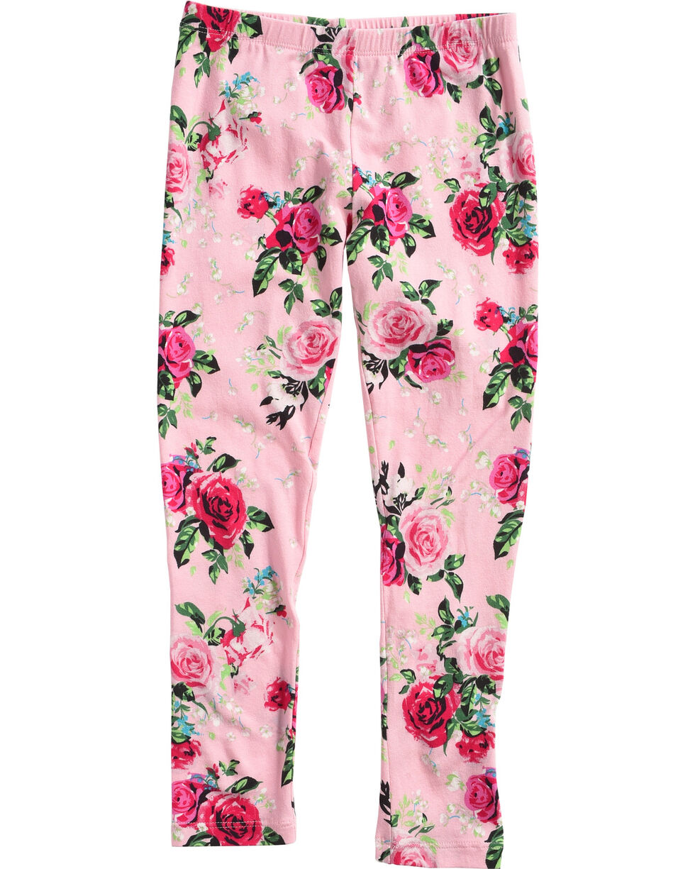 Shyanne Toddler Girls' Rose Patterned Leggings, Pink, hi-res