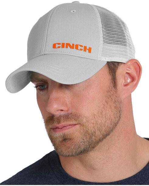 Cinch Men's Raised Logo Mesh Trucker Cap, Grey, hi-res