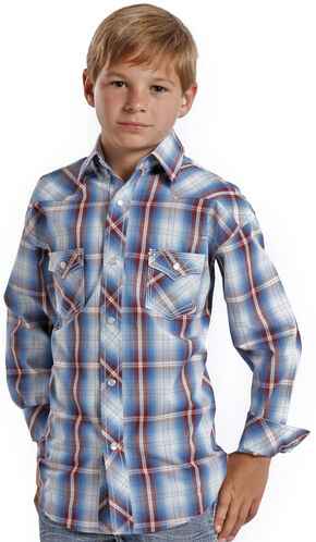 Rock and Roll Cowboy Boys' Ombre Plaid Western Shirt , Plaid, hi-res