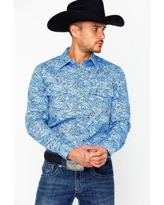 Rock & Roll Cowboy Men's Fire Resistant Printed Twill Shirt , Blue, hi-res