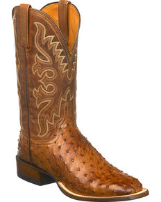 Lucchese Men's Handmade Harmon Full Quill Ostrich Western Boots - Square Toe, Tan, hi-res